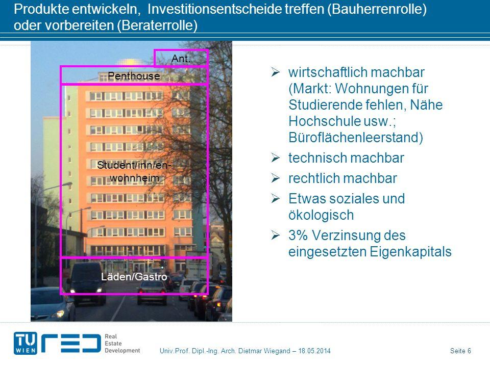 Seite 6 Univ.Prof. Dipl.-Ing. Arch. Dietmar Wiegand – 18.05.2014 Produkte entwickeln, Investitionsentscheide treffen (Bauherrenrolle) oder vorbereiten