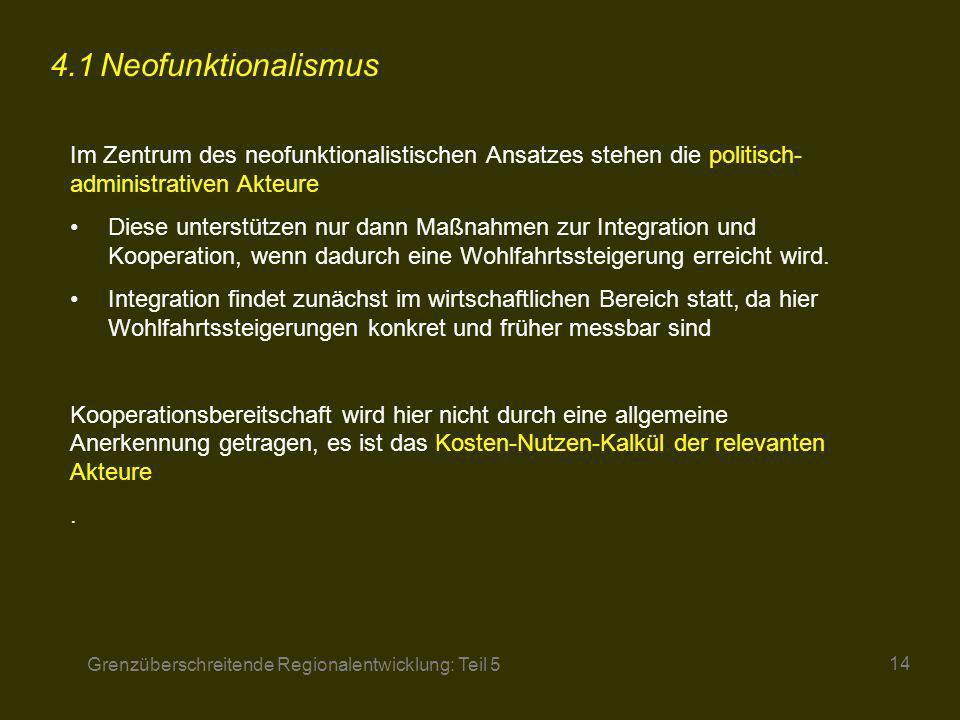 Grenzüberschreitende Regionalentwicklung: Teil 5 14 4.1Neofunktionalismus Im Zentrum des neofunktionalistischen Ansatzes stehen die politisch- adminis