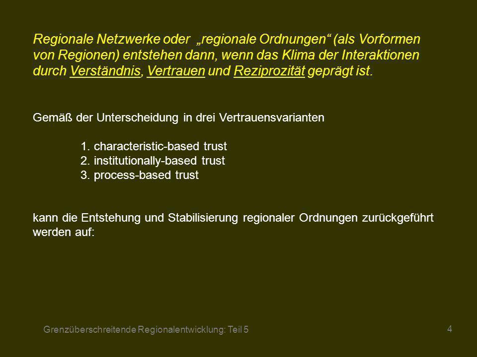 Grenzüberschreitende Regionalentwicklung: Teil 5 4 Regionale Netzwerke oder regionale Ordnungen (als Vorformen von Regionen) entstehen dann, wenn das