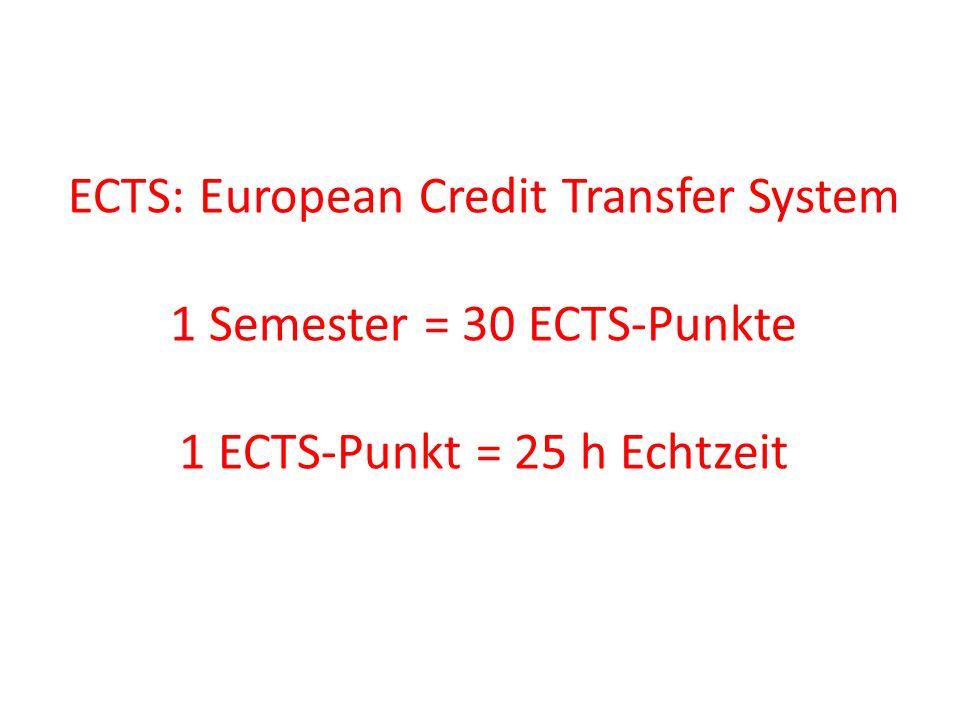 ECTS: European Credit Transfer System 1 Semester = 30 ECTS-Punkte 1 ECTS-Punkt = 25 h Echtzeit Gliederung des StudiumsGliederung des Studiums