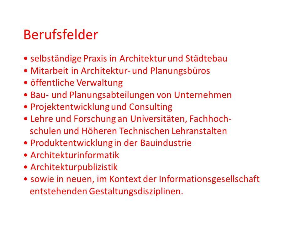 Berufsfelder selbständige Praxis in Architektur und Städtebau Mitarbeit in Architektur- und Planungsbüros öffentliche Verwaltung Bau- und Planungsabte