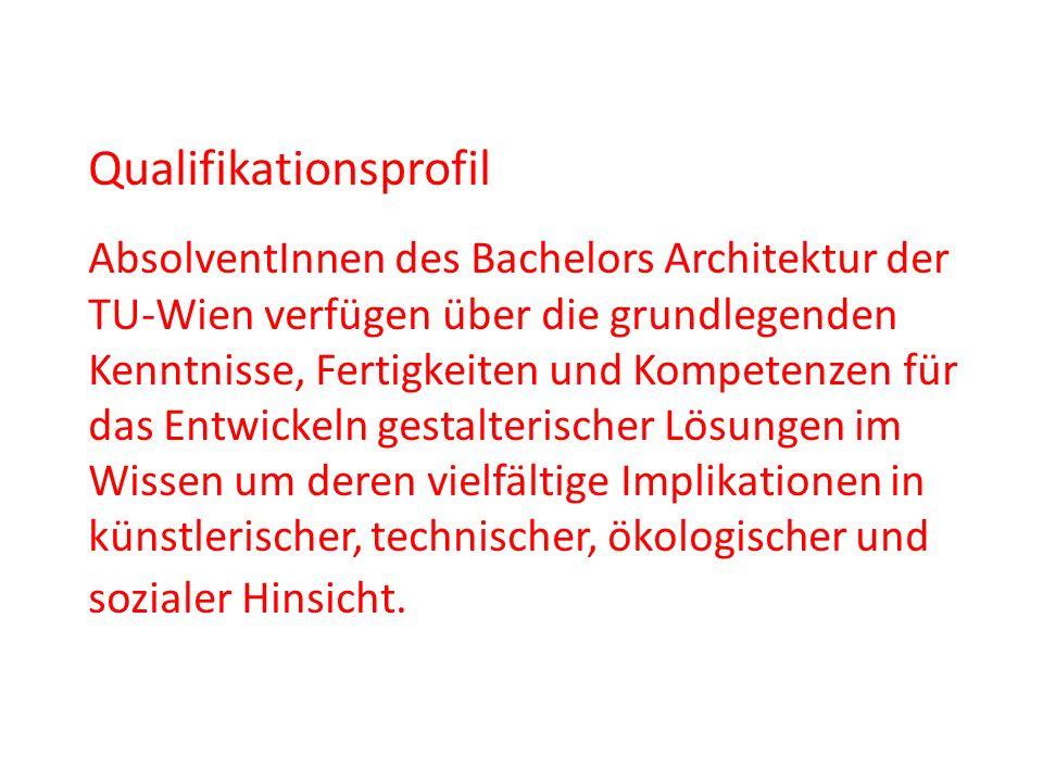 Qualifikationsprofil AbsolventInnen des Bachelors Architektur der TU-Wien verfügen über die grundlegenden Kenntnisse, Fertigkeiten und Kompetenzen für
