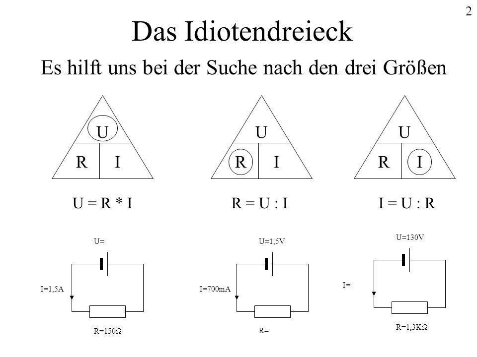 2 Das Idiotendreieck Es hilft uns bei der Suche nach den drei Größen U IR U IR U IR U = R * IR = U : II = U : R U= I=1,5A R=150 U=1,5V I=700mA R= U=13