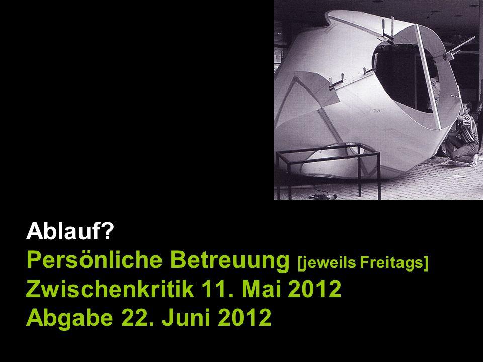 Ablauf Persönliche Betreuung [jeweils Freitags] Zwischenkritik 11. Mai 2012 Abgabe 22. Juni 2012