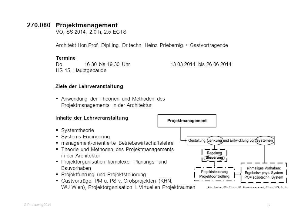 3 © Priebernig 2014 Ziele der Lehrveranstaltung Anwendung der Theorien und Methoden des Projektmanagements in der Architektur Inhalte der Lehrveransta