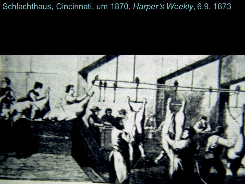 Schlachthaus, Cincinnati, um 1870, Harpers Weekly, 6.9. 1873