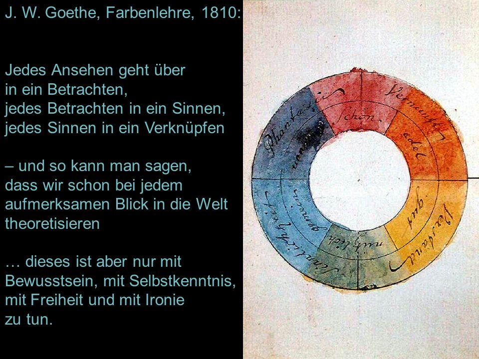 J. W. Goethe, Farbenlehre, 1810: Jedes Ansehen geht über in ein Betrachten, jedes Betrachten in ein Sinnen, jedes Sinnen in ein Verknüpfen – und so ka