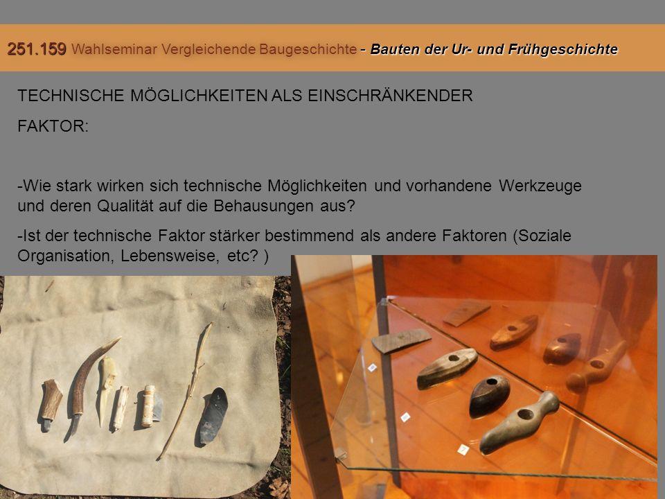 TECHNISCHE MÖGLICHKEITEN ALS EINSCHRÄNKENDER FAKTOR: -Wie stark wirken sich technische Möglichkeiten und vorhandene Werkzeuge und deren Qualität auf die Behausungen aus.