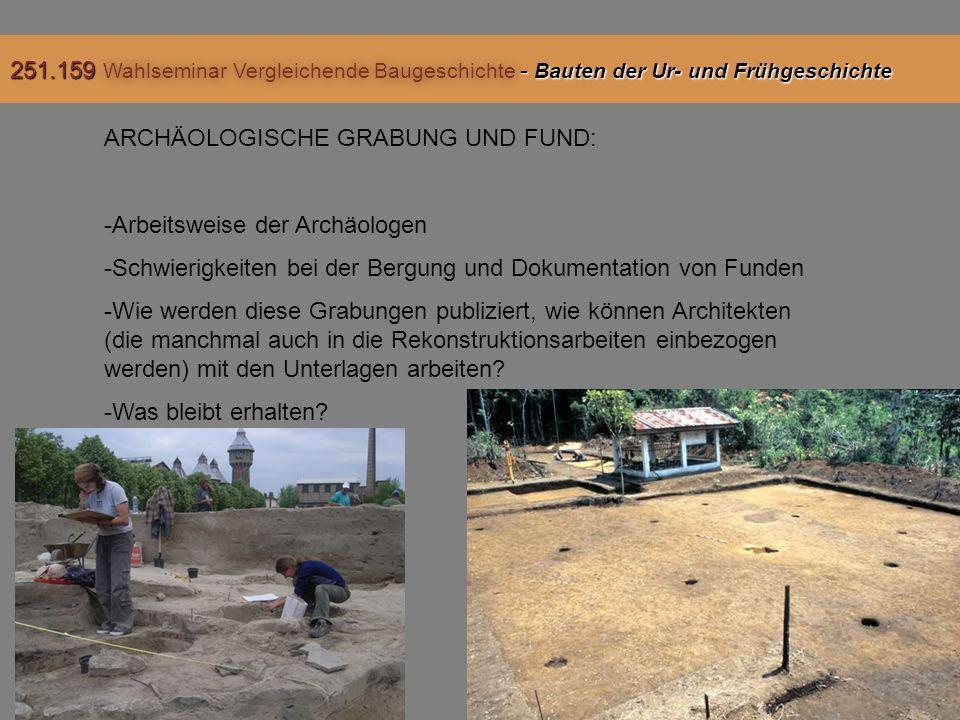 ARCHÄOLOGISCHE GRABUNG UND FUND: -Arbeitsweise der Archäologen -Schwierigkeiten bei der Bergung und Dokumentation von Funden -Wie werden diese Grabungen publiziert, wie können Architekten (die manchmal auch in die Rekonstruktionsarbeiten einbezogen werden) mit den Unterlagen arbeiten.