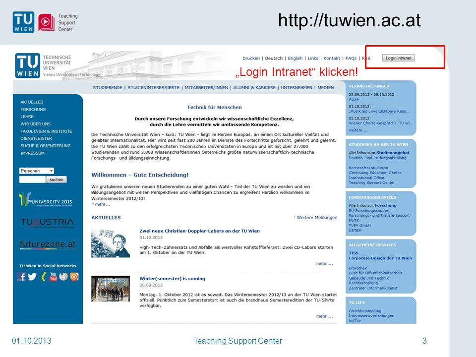 Teaching Support Center3 http://tuwien.ac.at 01.10.2013 Login Intranet klicken!