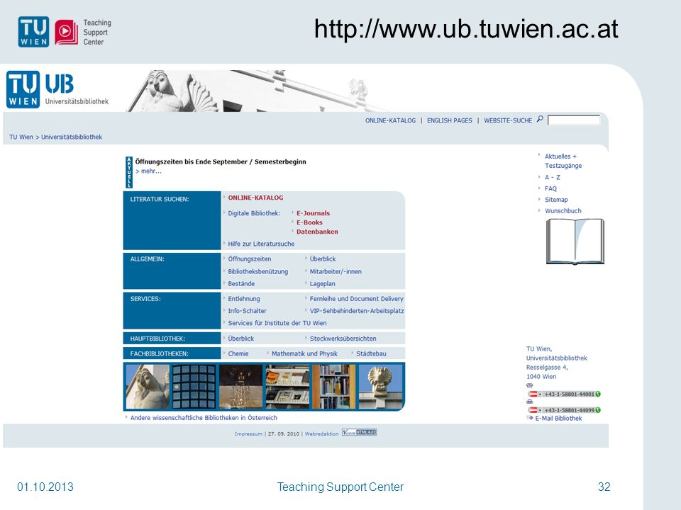 Teaching Support Center32 http://www.ub.tuwien.ac.at 01.10.2013