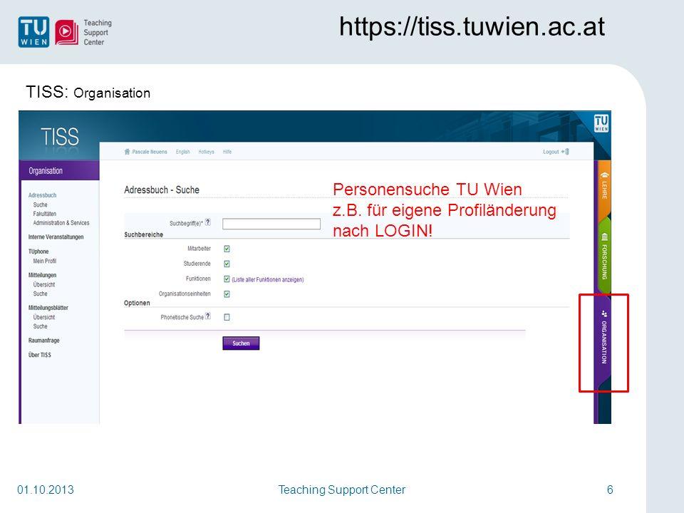 Teaching Support Center17Teaching Support Center17 http://tuwel.tuwien.ac.at 01.10.2013 Änderungen sichern schliesst den Upload-Prozess ab.
