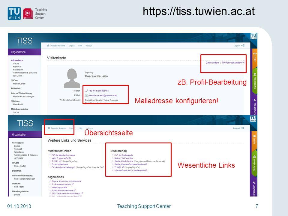 Sortierung Ihrer Favoriten Teaching Support Center8 https://iu.zid.tuwien.ac.at/AuthServ.portal 01.10.2013 nach der Anmeldung: Orientierungskurs in Favoritenliste
