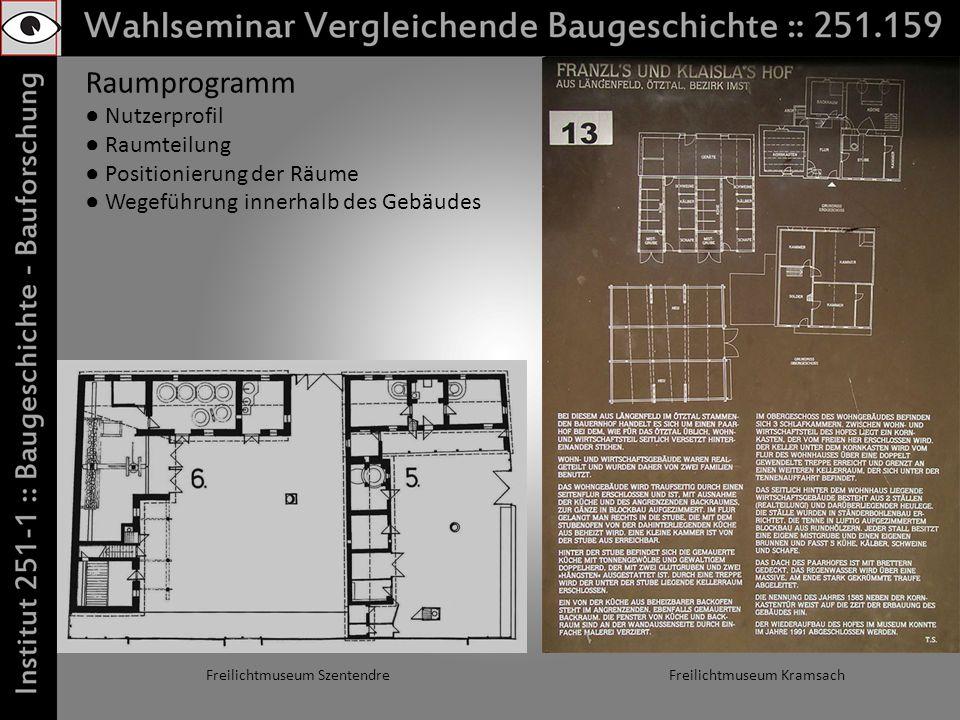 Raumprogramm Nutzerprofil Raumteilung Positionierung der Räume Wegeführung innerhalb des Gebäudes Freilichtmuseum KramsachFreilichtmuseum Szentendre