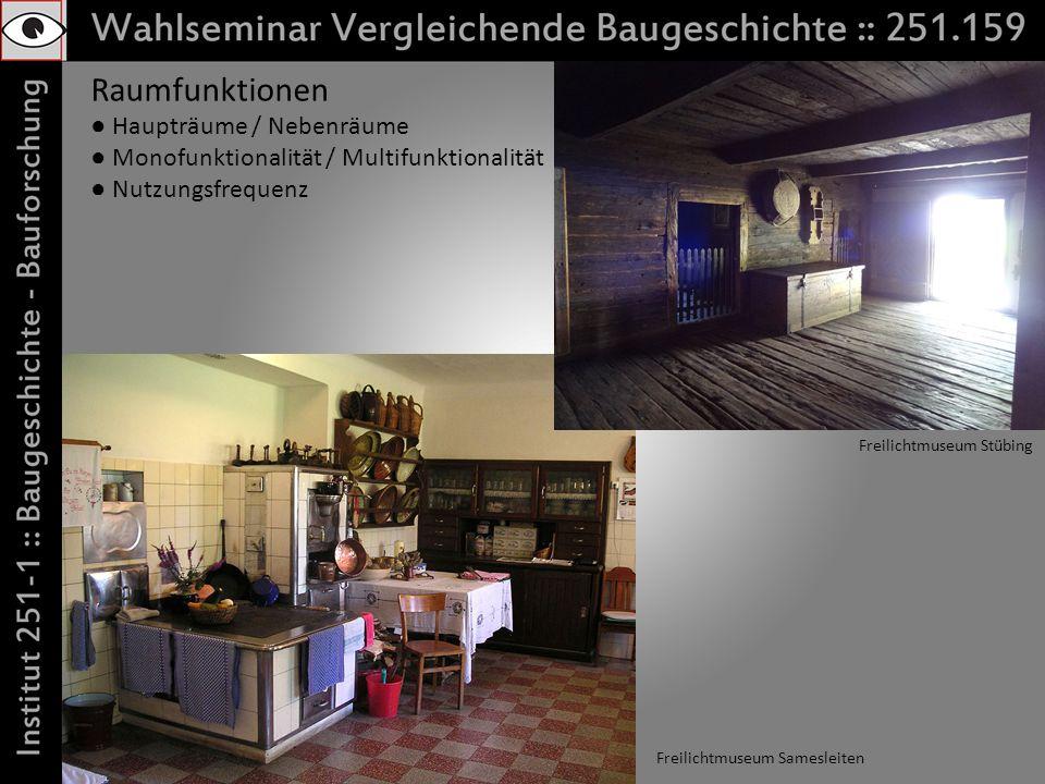 Raumfunktionen Haupträume / Nebenräume Monofunktionalität / Multifunktionalität Nutzungsfrequenz Freilichtmuseum Samesleiten Freilichtmuseum Stübing
