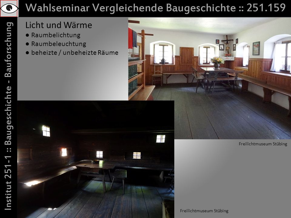 Licht und Wärme Raumbelichtung Raumbeleuchtung beheizte / unbeheizte Räume Freilichtmuseum Stübing