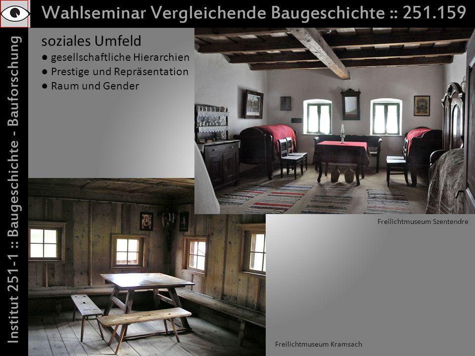 soziales Umfeld gesellschaftliche Hierarchien Prestige und Repräsentation Raum und Gender Freilichtmuseum Kramsach Freilichtmuseum Szentendre
