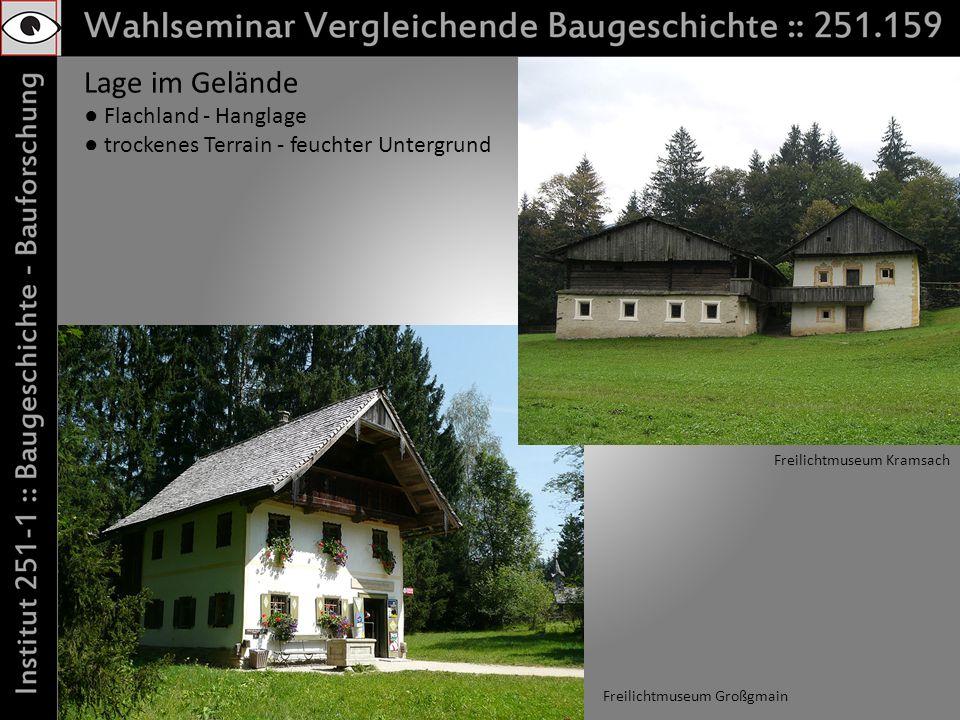 Lage im Gelände Flachland - Hanglage trockenes Terrain - feuchter Untergrund Freilichtmuseum Großgmain Freilichtmuseum Kramsach