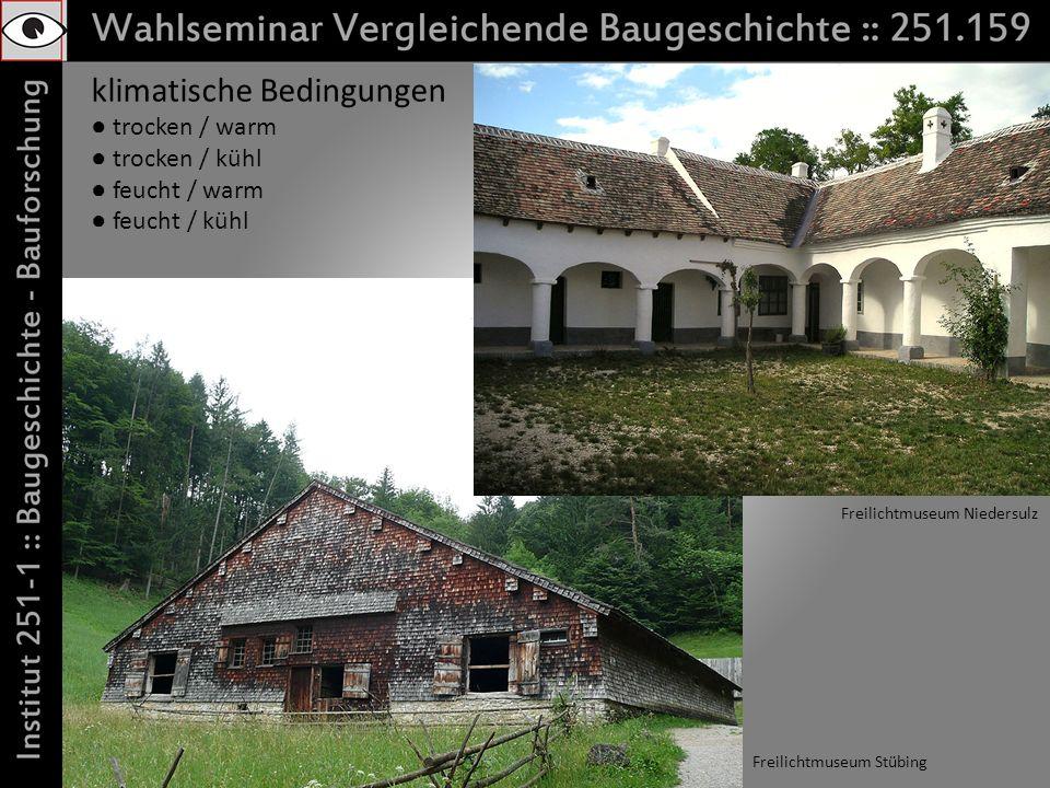 klimatische Bedingungen trocken / warm trocken / kühl feucht / warm feucht / kühl Freilichtmuseum Stübing Freilichtmuseum Niedersulz