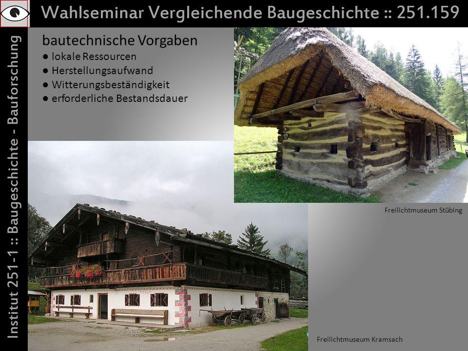 bautechnische Vorgaben lokale Ressourcen Herstellungsaufwand Witterungsbeständigkeit erforderliche Bestandsdauer Freilichtmuseum Kramsach Freilichtmuseum Stübing