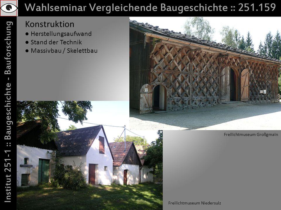 Konstruktion Herstellungsaufwand Stand der Technik Massivbau / Skelettbau Freilichtmuseum Niedersulz Freilichtmuseum Großgmain