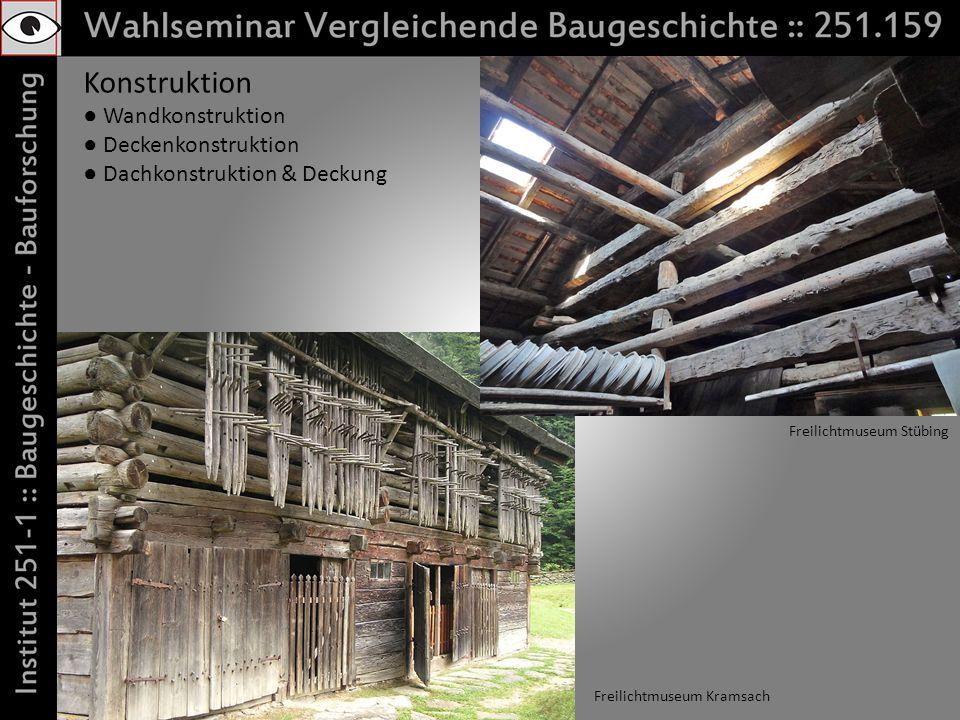 Konstruktion Wandkonstruktion Deckenkonstruktion Dachkonstruktion & Deckung Freilichtmuseum Kramsach Freilichtmuseum Stübing