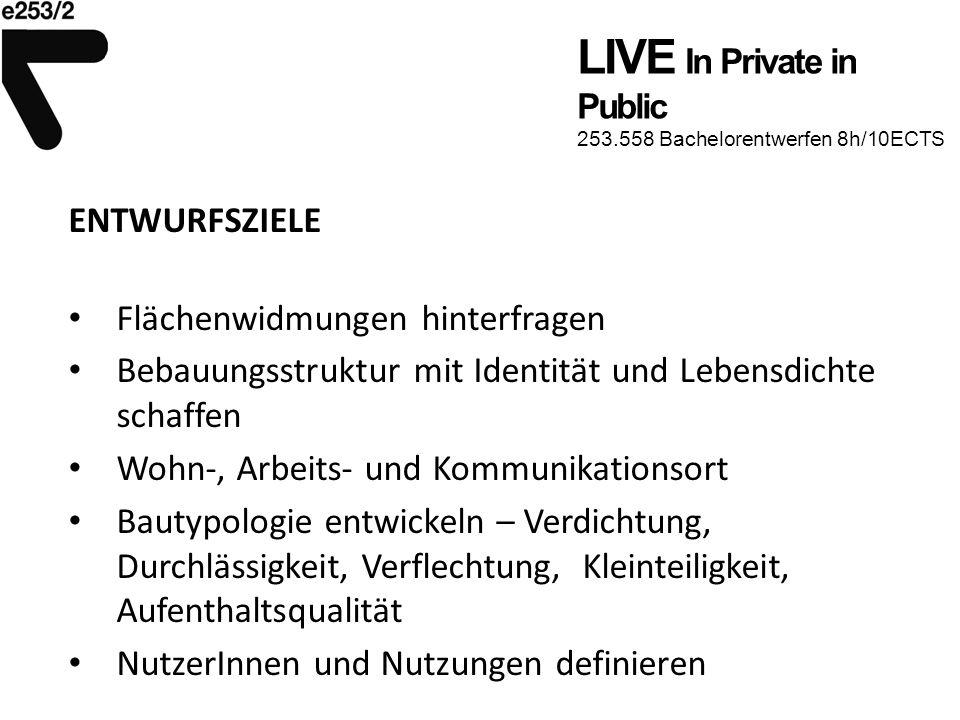 LIVE In Private in Public 253.558 Bachelorentwerfen 8h/10ECTS ENTWURFSZIELE Flächenwidmungen hinterfragen Bebauungsstruktur mit Identität und Lebensdi