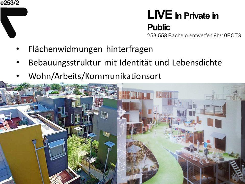 LIVE In Private in Public 253.558 Bachelorentwerfen 8h/10ECTS Flächenwidmungen hinterfragen Bebauungsstruktur mit Identität und Lebensdichte Wohn/Arbeits/Kommunikationsort