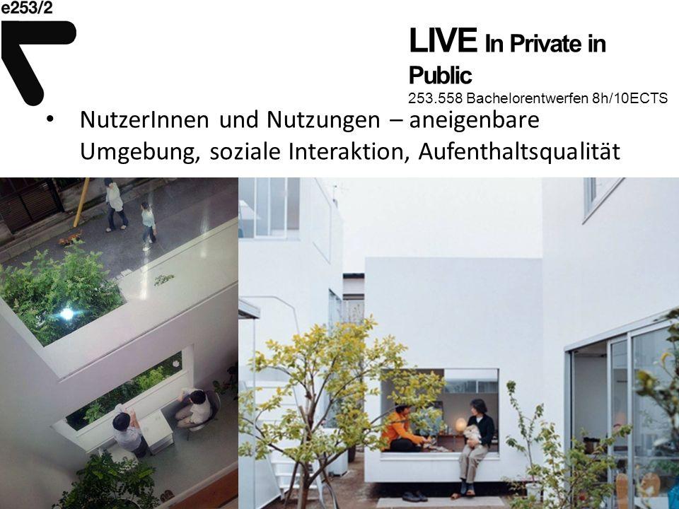 LIVE In Private in Public 253.558 Bachelorentwerfen 8h/10ECTS NutzerInnen und Nutzungen – aneigenbare Umgebung, soziale Interaktion, Aufenthaltsqualit