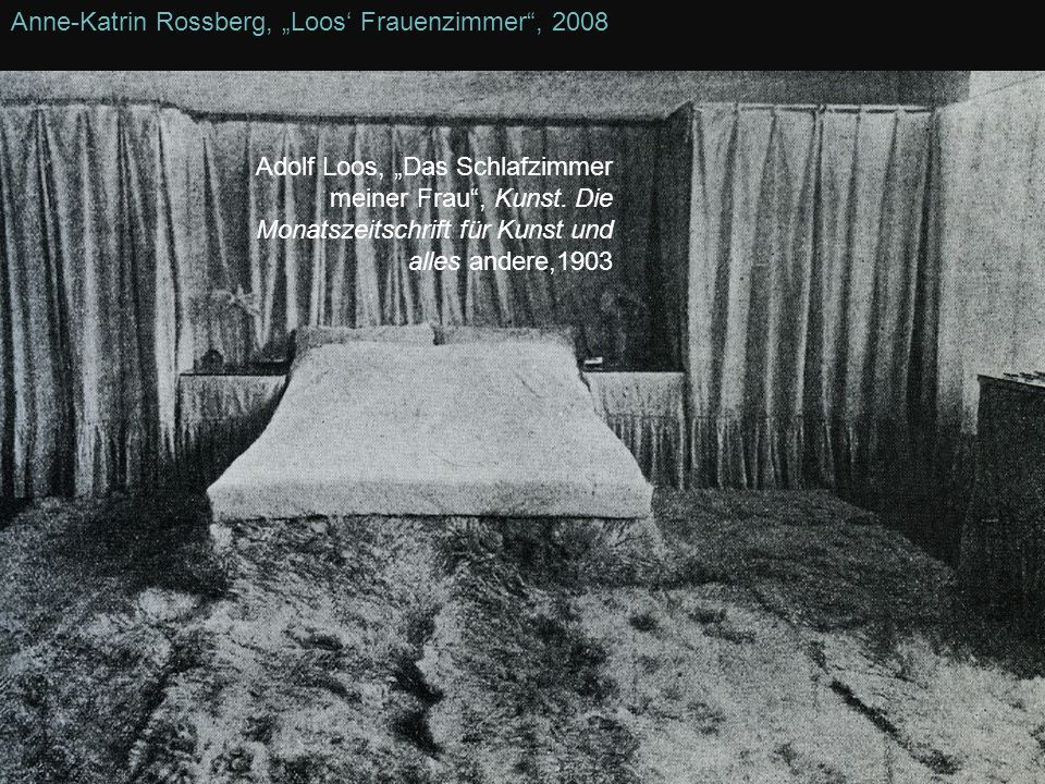 Anne-Katrin Rossberg, Loos Frauenzimmer, 2008 Adolf Loos, Das Schlafzimmer meiner Frau, Kunst. Die Monatszeitschrift für Kunst und alles andere,1903