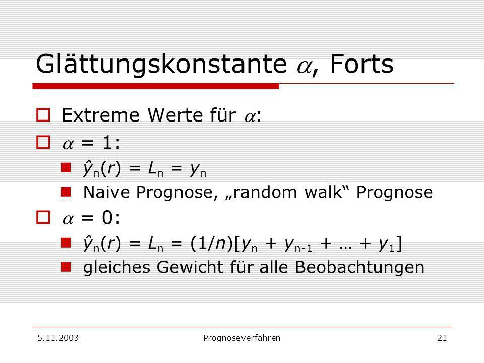 5.11.2003Prognoseverfahren21 Glättungskonstante, Forts Extreme Werte für : = 1: ŷ n (r) = L n = y n Naive Prognose, random walk Prognose = 0: ŷ n (r)