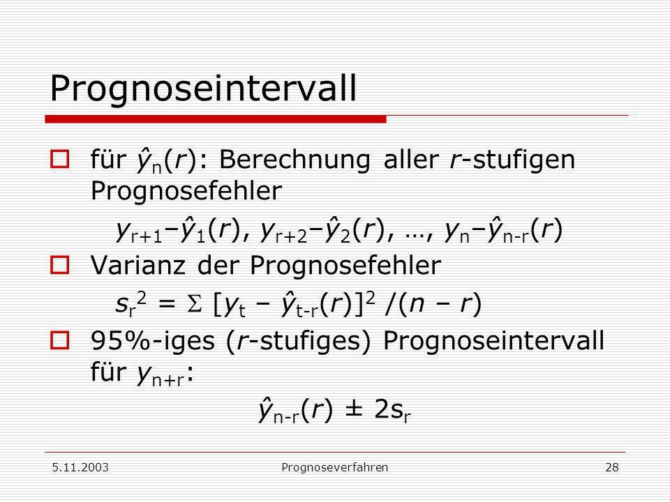 5.11.2003Prognoseverfahren28 Prognoseintervall für ŷ n (r): Berechnung aller r-stufigen Prognosefehler y r+1 –ŷ 1 (r), y r+2 –ŷ 2 (r), …, y n –ŷ n-r (