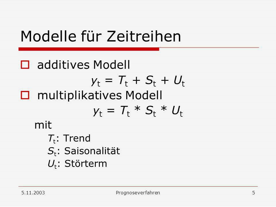 5.11.2003Prognoseverfahren5 Modelle für Zeitreihen additives Modell y t = T t + S t + U t multiplikatives Modell y t = T t * S t * U t mit T t : Trend