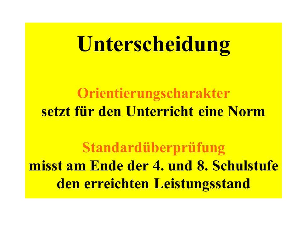 Unterscheidung Orientierungscharakter setzt für den Unterricht eine Norm Standardüberprüfung misst am Ende der 4.