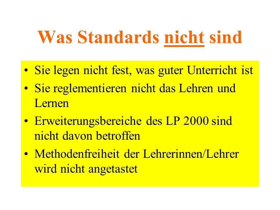 Was Standards nicht sind Sie legen nicht fest, was guter Unterricht ist Sie reglementieren nicht das Lehren und Lernen Erweiterungsbereiche des LP 2000 sind nicht davon betroffen Methodenfreiheit der Lehrerinnen/Lehrer wird nicht angetastet