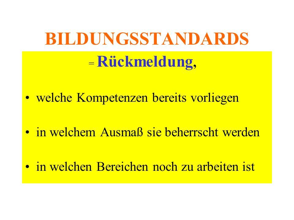 BILDUNGSSTANDARDS = Rückmeldung, welche Kompetenzen bereits vorliegen in welchem Ausmaß sie beherrscht werden in welchen Bereichen noch zu arbeiten ist