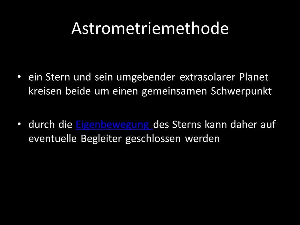 Astrometriemethode ein Stern und sein umgebender extrasolarer Planet kreisen beide um einen gemeinsamen Schwerpunkt durch die Eigenbewegung des Sterns