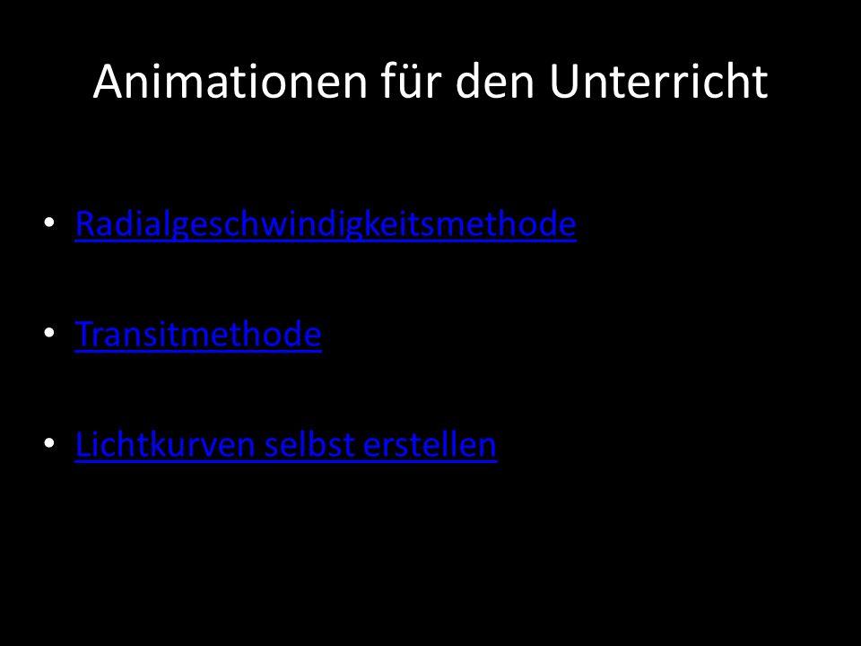 Animationen für den Unterricht Radialgeschwindigkeitsmethode Transitmethode Lichtkurven selbst erstellen