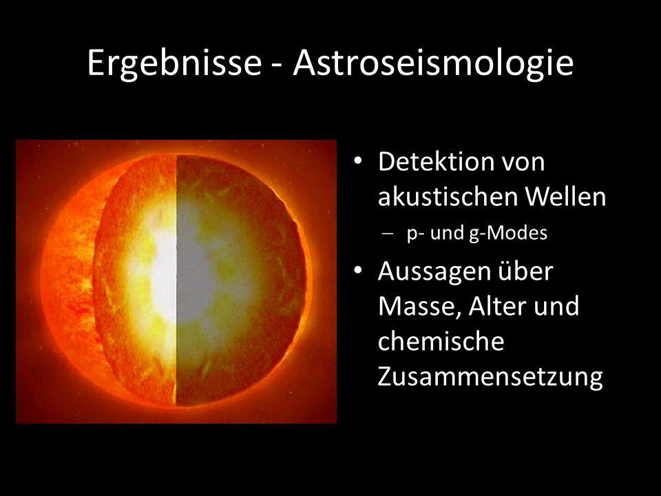Ergebnisse - Astroseismologie Detektion von akustischen Wellen p- und g-Modes Aussagen über Masse, Alter und chemische Zusammensetzung