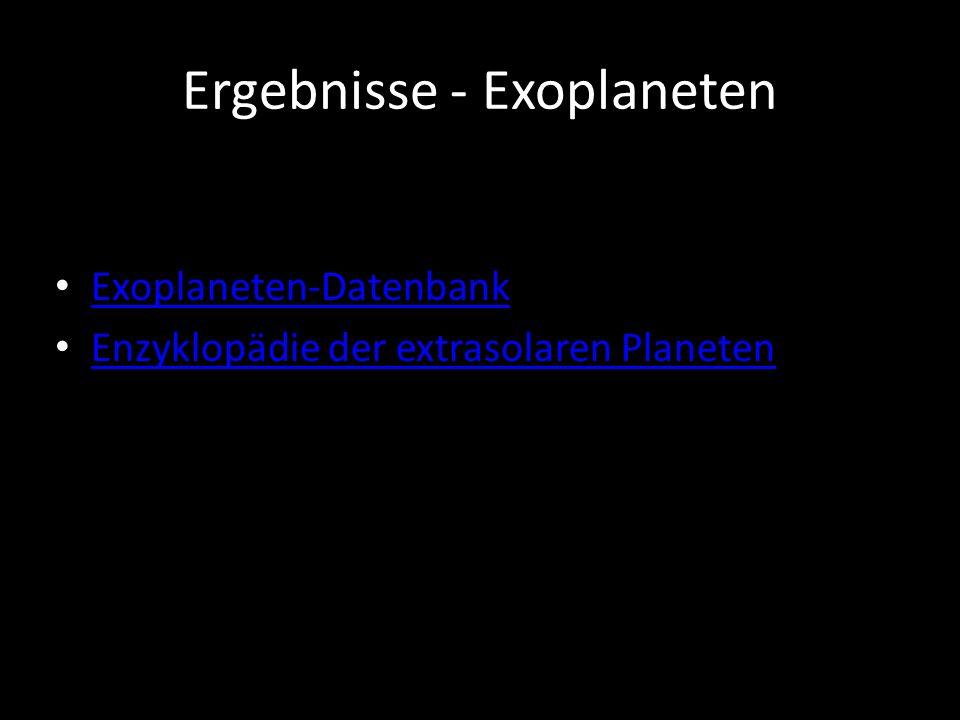 Exoplaneten-Datenbank Enzyklopädie der extrasolaren Planeten Ergebnisse - Exoplaneten