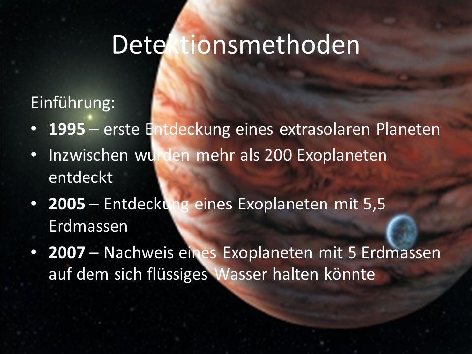 Detektionsmethoden Einführung: 1995 – erste Entdeckung eines extrasolaren Planeten Inzwischen wurden mehr als 200 Exoplaneten entdeckt 2005 – Entdecku