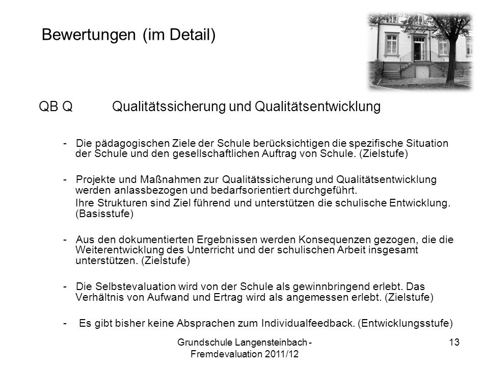 QB QQualitätssicherung und Qualitätsentwicklung - Die pädagogischen Ziele der Schule berücksichtigen die spezifische Situation der Schule und den gesellschaftlichen Auftrag von Schule.