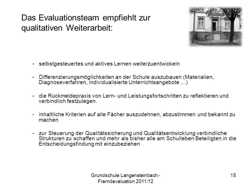 - selbstgesteuertes und aktives Lernen weiterzuentwickeln - Differenzierungsmöglichkeiten an der Schule auszubauen (Materialien, Diagnoseverfahren, in