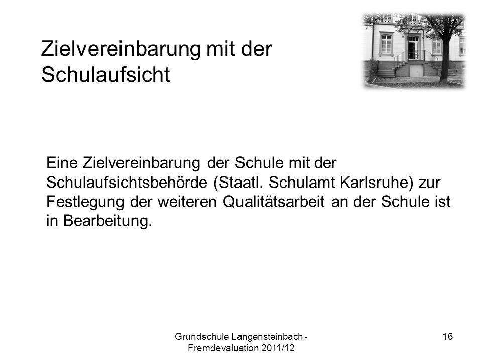 Eine Zielvereinbarung der Schule mit der Schulaufsichtsbehörde (Staatl. Schulamt Karlsruhe) zur Festlegung der weiteren Qualitätsarbeit an der Schule