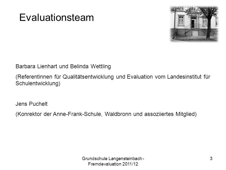 Evaluationsteam Barbara Lienhart und Belinda Wettling (Referentinnen für Qualitätsentwicklung und Evaluation vom Landesinstitut für Schulentwicklung) Jens Puchelt (Konrektor der Anne-Frank-Schule, Waldbronn und assoziiertes Mitglied) 3Grundschule Langensteinbach - Fremdevaluation 2011/12
