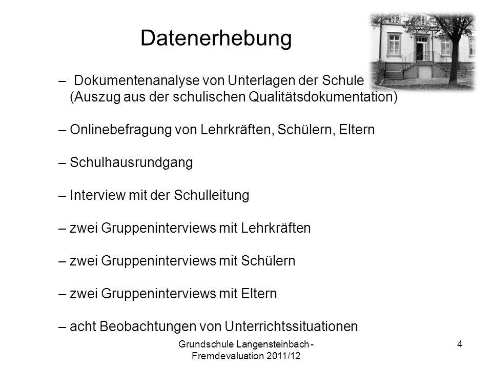 – Dokumentenanalyse von Unterlagen der Schule (Auszug aus der schulischen Qualitätsdokumentation) – Onlinebefragung von Lehrkräften, Schülern, Eltern