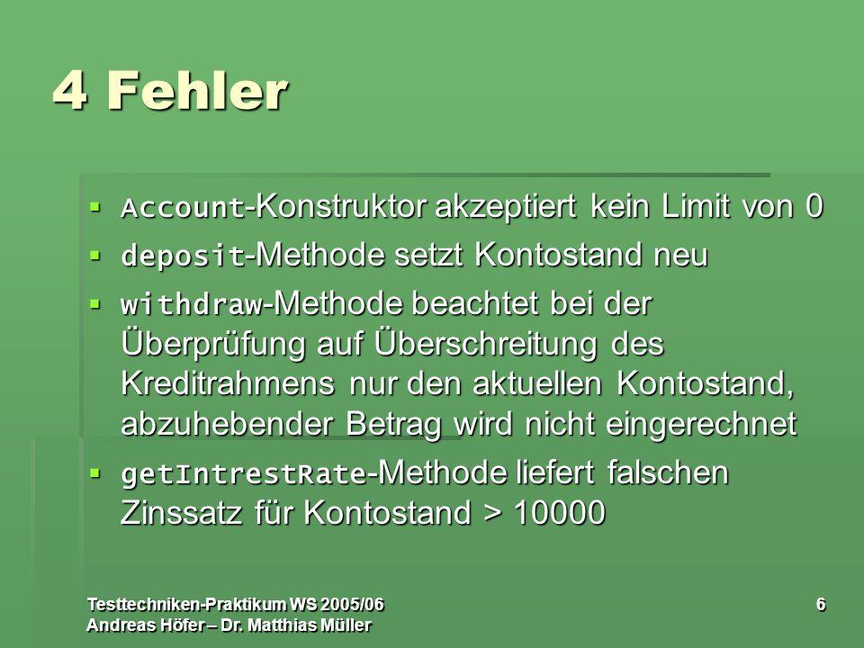 Testtechniken-Praktikum WS 2005/06 Andreas Höfer – Dr. Matthias Müller 6 4 Fehler Account -Konstruktor akzeptiert kein Limit von 0 Account -Konstrukto