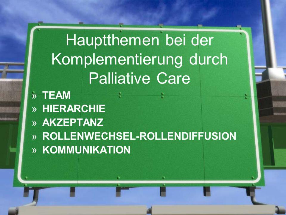 Hauptthemen bei der Komplementierung durch Palliative Care »TEAM »HIERARCHIE »AKZEPTANZ »ROLLENWECHSEL-ROLLENDIFFUSION »KOMMUNIKATION