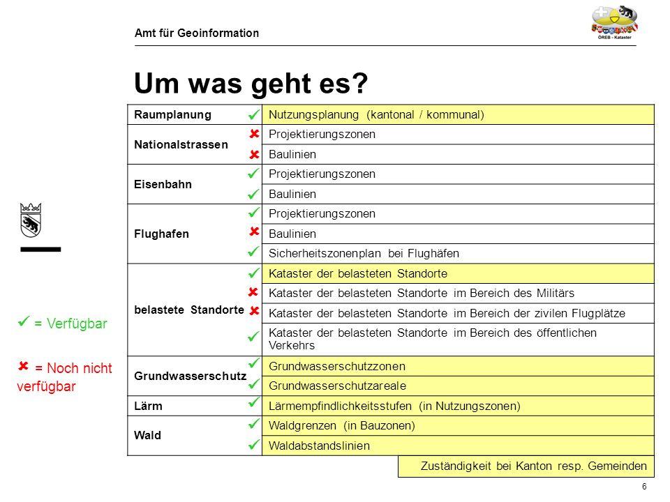 Amt für Geoinformation 7 Um was geht es? Zeitplan des Bundes Flächendeckung ganze Schweiz