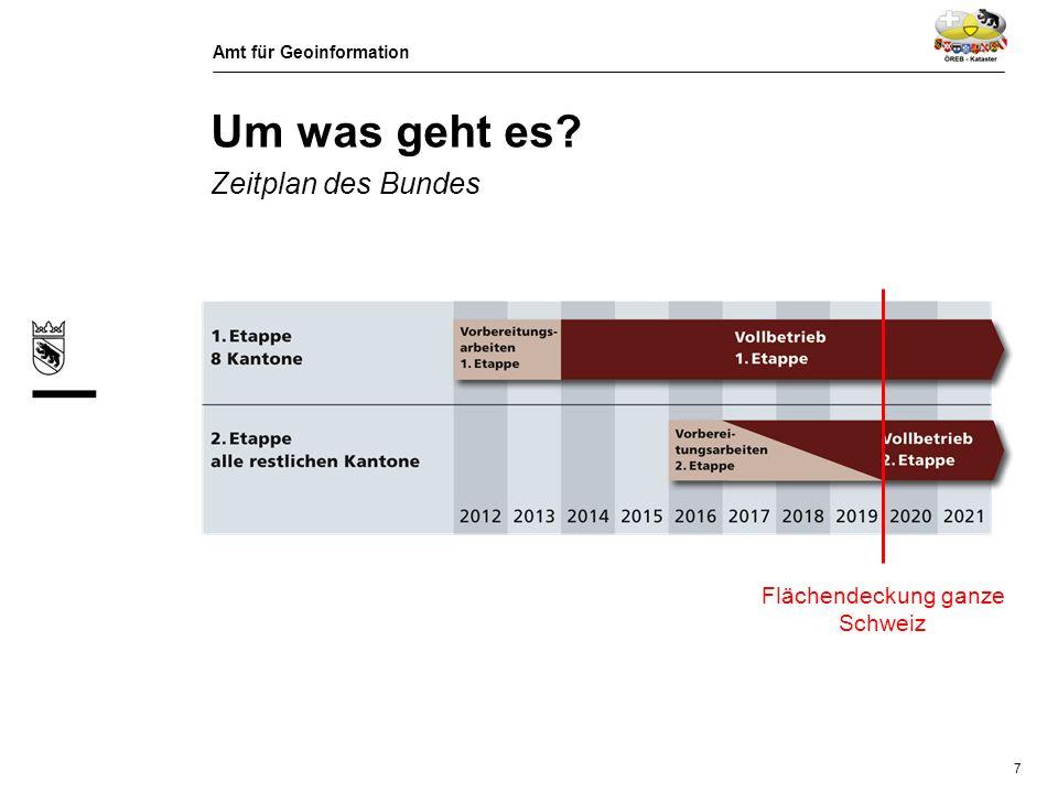 Amt für Geoinformation 8 Um was geht es.Zeitplan Kanton Bern 1.